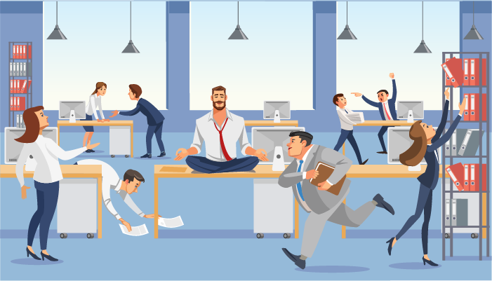 cartoon image of office chaos